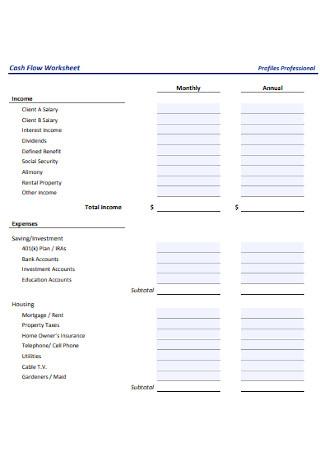Cash Flow Worksheet Format