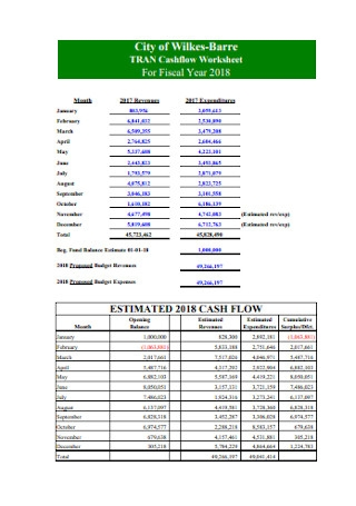 Cash Flow Yearly Worksheet