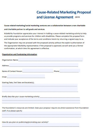 Cause Related Marketing Proposal Template