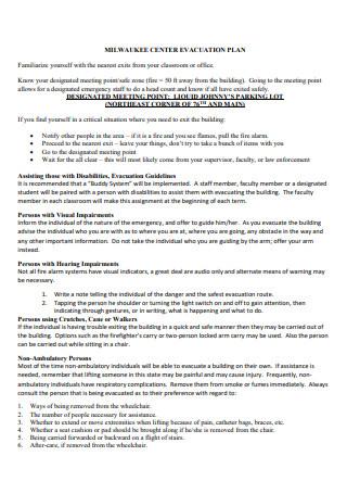 Center Evacuation Plan