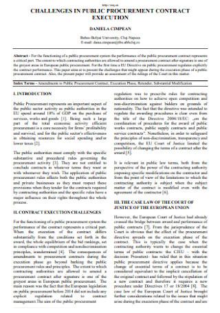 Challenges in Public Procurement Contract