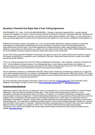 Chemical Unit Tolling Agreement