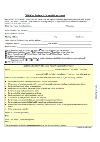 Child Care Business Partnership Agreement