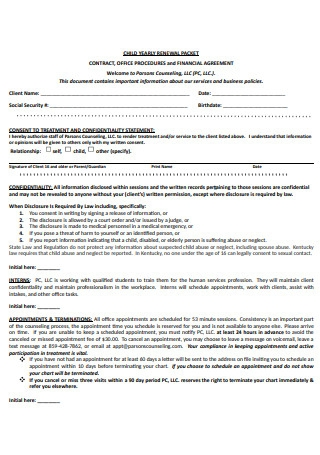 Child Yearly Contract