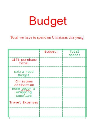 Christmas Gift Budget in DOC