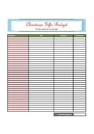 Christmas Gifts Budget Template