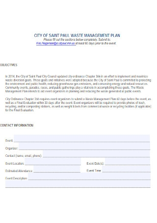 City of Waste Management Plan