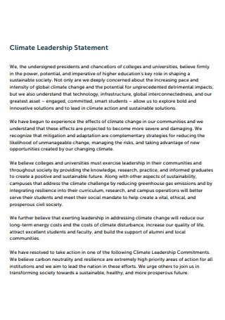 Climate Leadership Statement