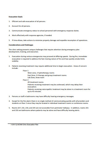 Clinic Evacuation Plan