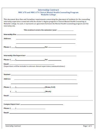 Clinical Internship Contract