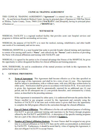 Clinical Training Agreement