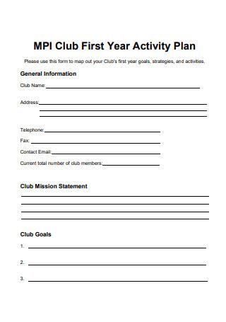 Club Activity Plan