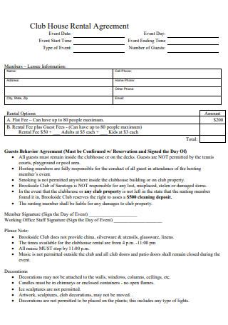 Club House Rental Agreement