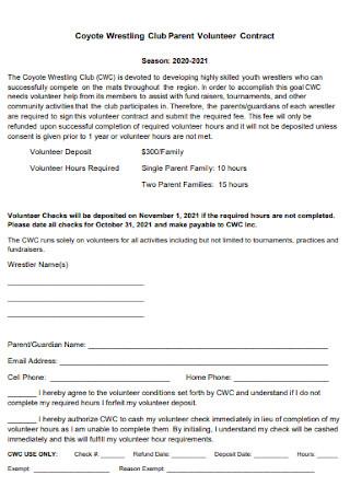 Club Parent Volunteer Contract