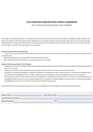 Cold Weather Construction Agreement