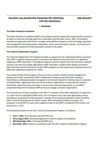 Collaboration Program Pre Proposal
