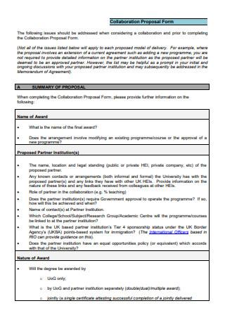Collaboration Proposal Form