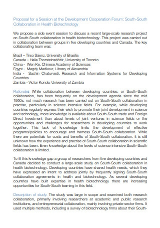 Collaboration in Health Biotechnology Proposal