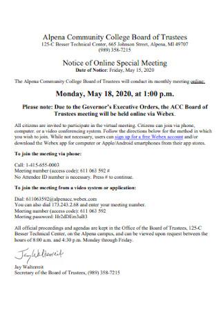 College Board Meeting Agenda