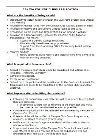 College Club Proposal