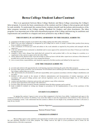 College Student Labor Contract