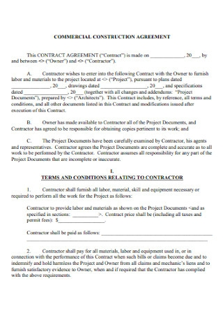 Commercial Construction Agreement
