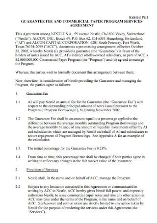 Commercial Program Guarantee Agreement