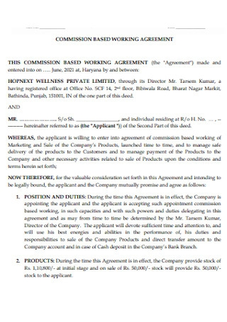 Commission Based Working Agreement