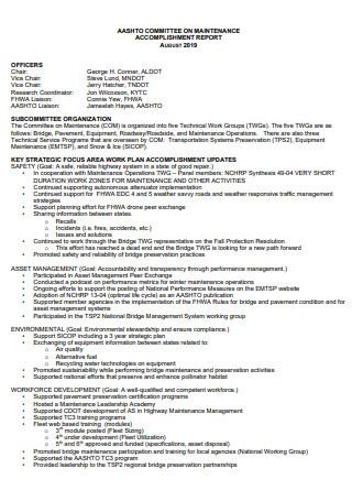 Committee on Maintenance Accomplishment Report