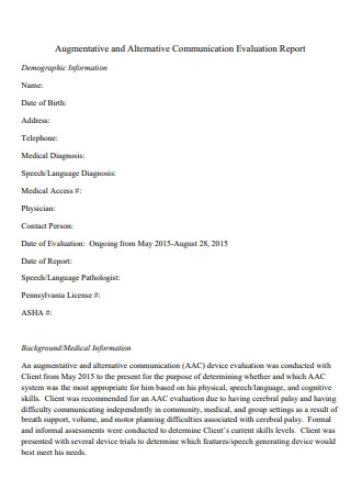 Communication Evaluation Report