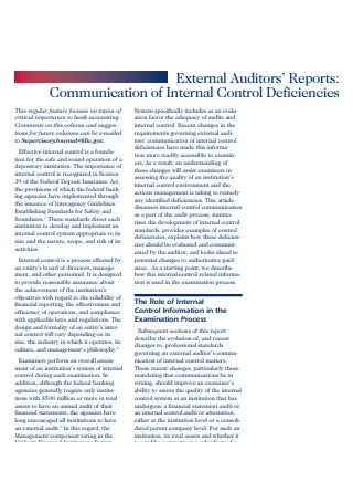 Communication External Auditor Report