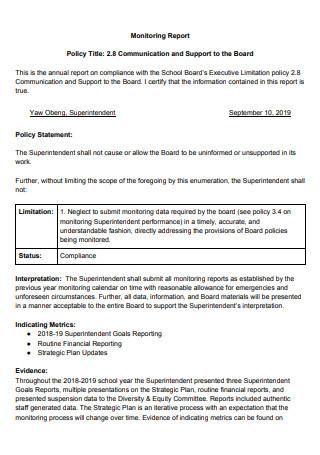 Communication Monitoring Report