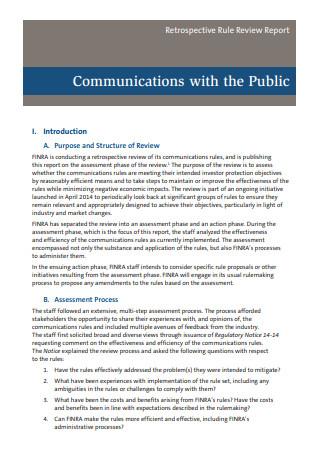 Communication Public Report