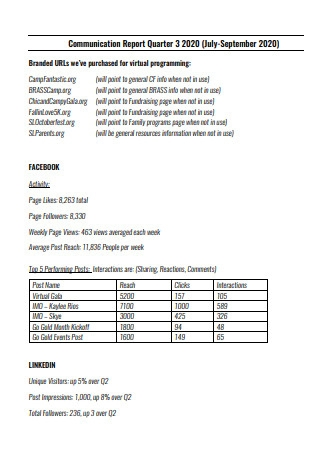 Communication Quarter Report