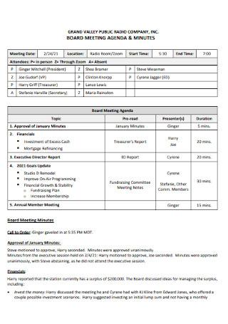 Company Board Meeting Agenda