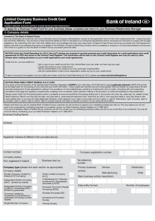 Company Business Credit Card Application Form