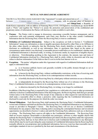 Company Mutual Non Disclosure Agreement