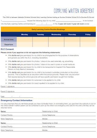 Complying Written Agreement