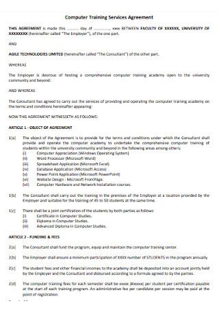 Computer Training Service Agreement