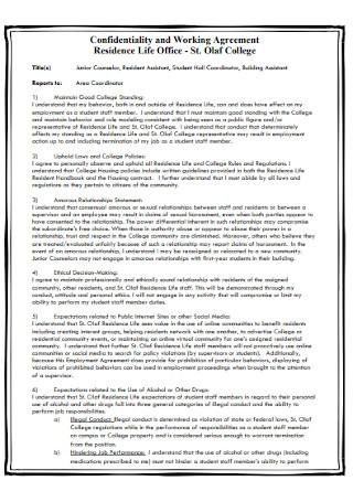 Confidentiality and Working Agreement