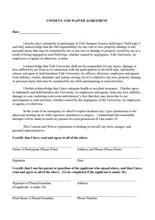 Consent and Waiver Agreement