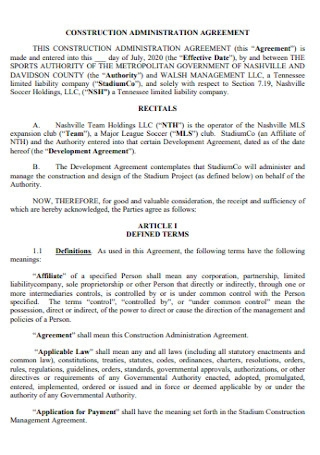 Construction Administration Agreement