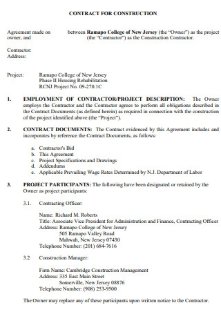 Construction Contract Agreement Example