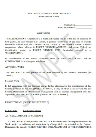 Construction Contract Agreement Form