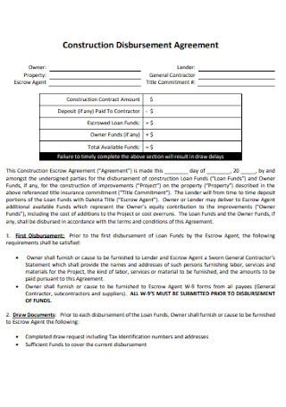 Construction Disbursement Agreement