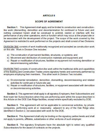 Construction Labor Agreement