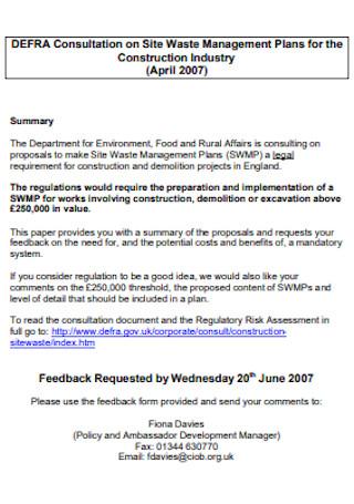 Consultation on Site Waste Management Plan