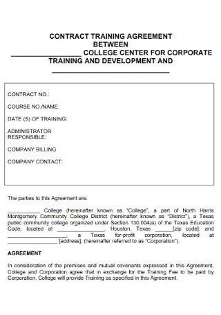 Contract Training Agreement