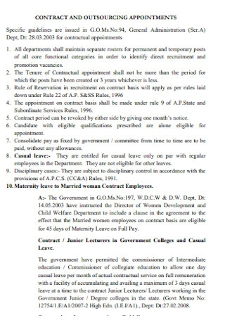 Contract and Outsourcing Appointment