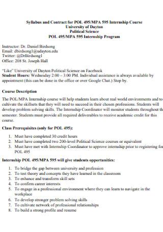 Contract for Internship Course